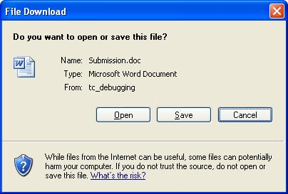 When Clicking Download Generated Document IE Will Pop Up File Dialog As Expected However Opening The Downloaded MS Word Be